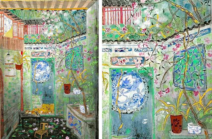 Fang Xiang - A Spring Scene In Guangdong Province (Left) / Detail (Right)