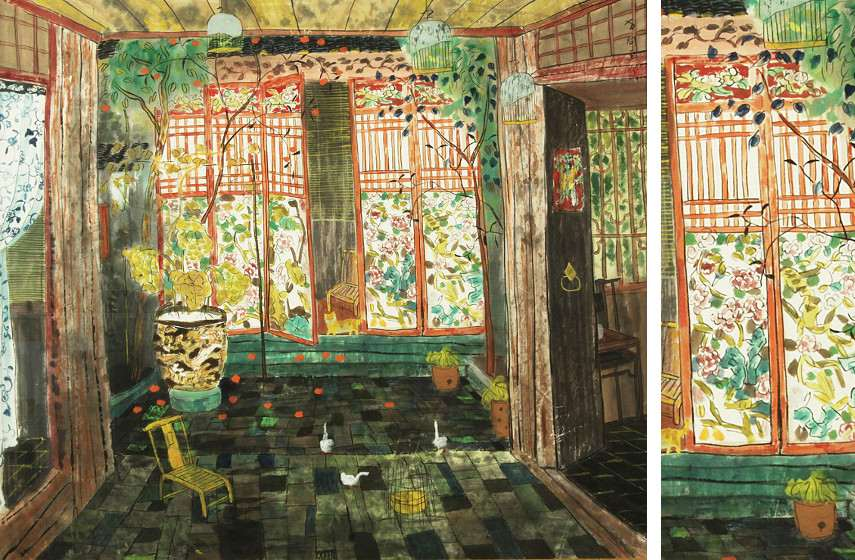 Fang Xiang - Waiting for Guests (Left) / Detail (Right), photo credits Prlog