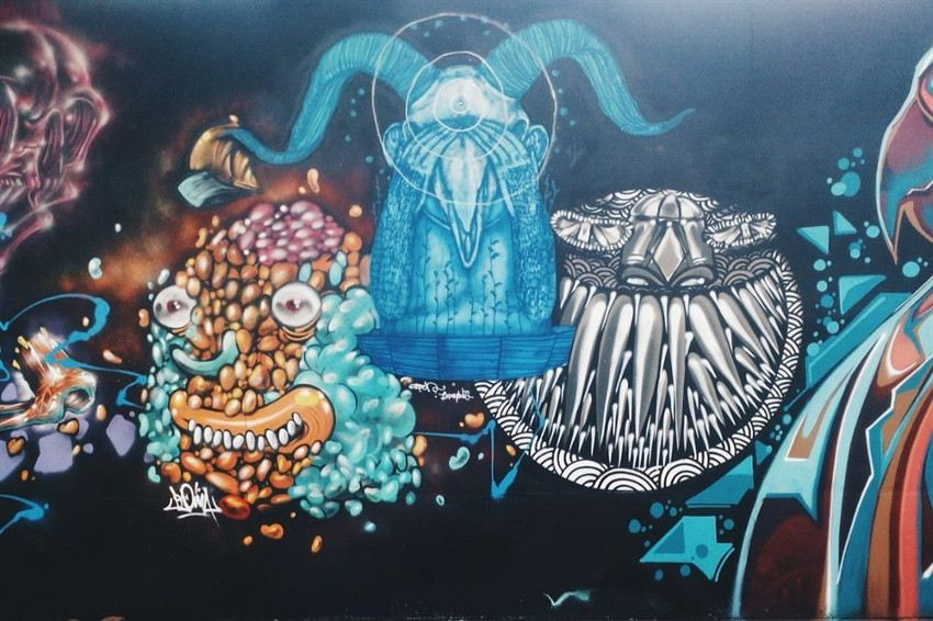 Fansack - Renascence, mural in Jakarta, Indonesia,  2015