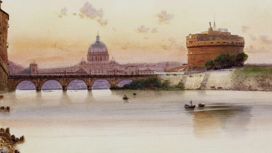 Federico Schianchi - Vedute of Tiber and Castel Sant'Angelo (detail)