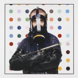 Fergus Greer-Damien Hirst With Dot Painting Behind, London-2015
