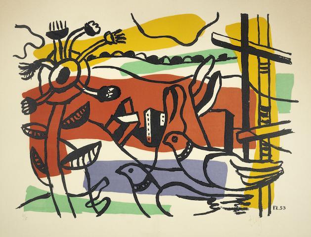 Fernand Leger-Composition aux deux oiseaux-1954