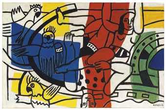 Fernand Leger-Deux acrobates et trois oiseaux-1953