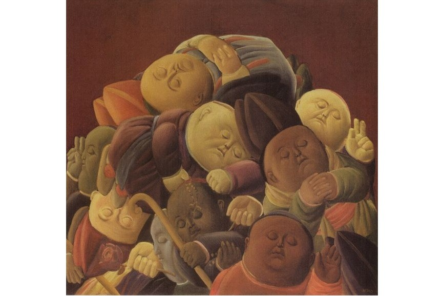 Fernando Botero paintings and sculpture of volumized people, dancers and horses are in various museums around the world. The artist was born in 1932 in Medellín Columbia.