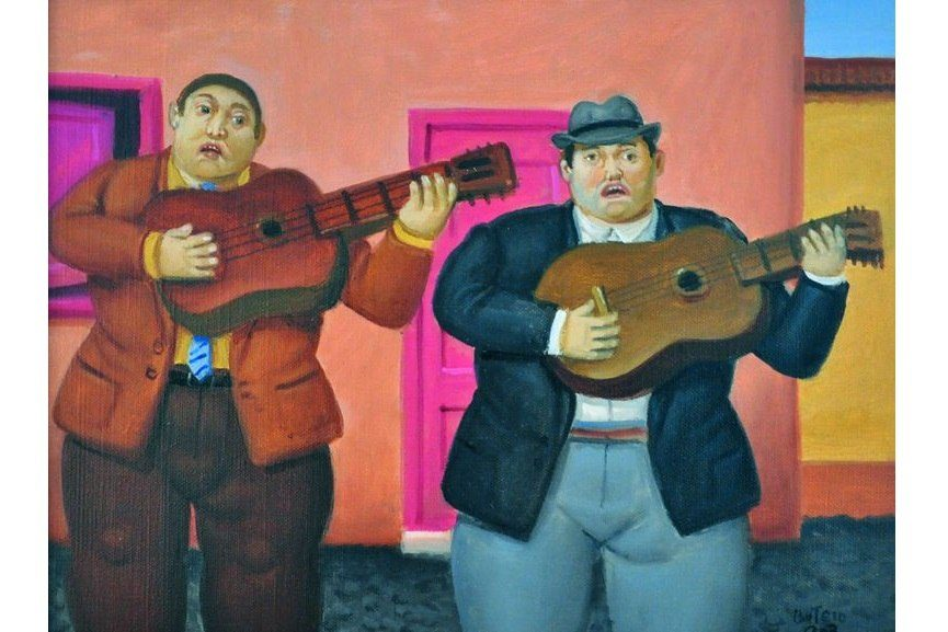 Fernando Botero - Guitar Player, 2003. Oil on canvas, 28x37 cm