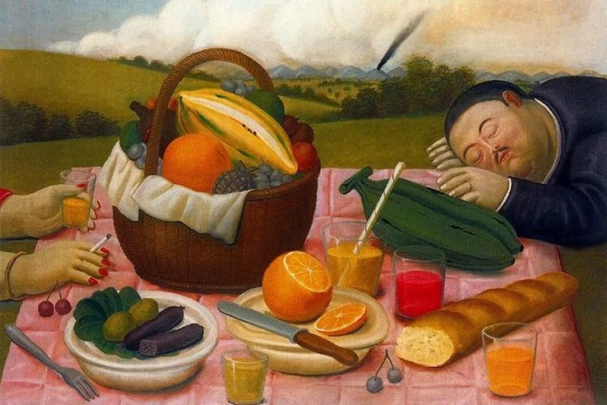 the piece by one of the most famous colombian artists fernando botero is on view in a colombian gallery