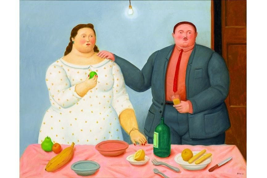 Fernando Botero colombia - Still Life with Couple, 2013. Oil on canvas, 96 x 121cm
