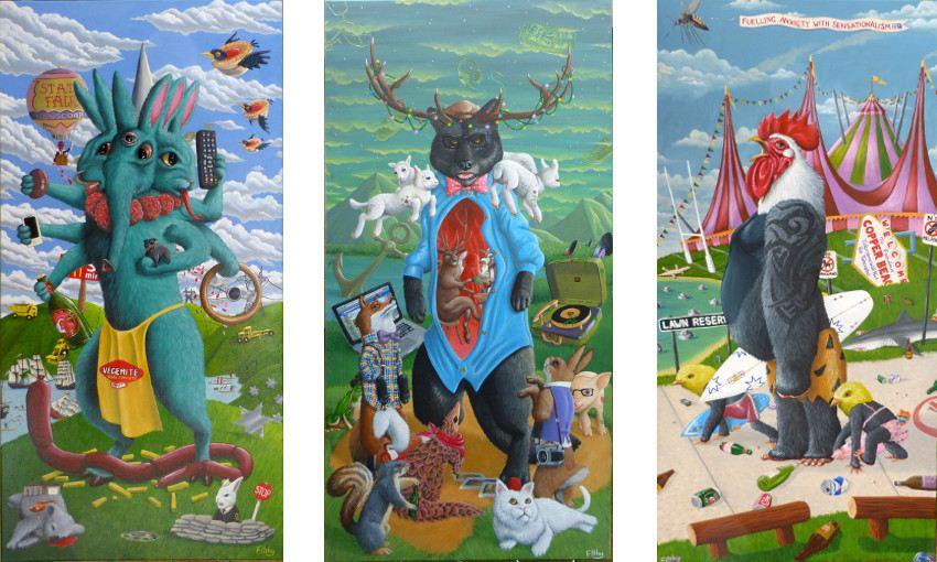 Filthy The Bear - Owsyabumfagrubs, 2014 / Hipsterwolf, 2014 / Roosterhead, 2014 - new - sunshine - prize