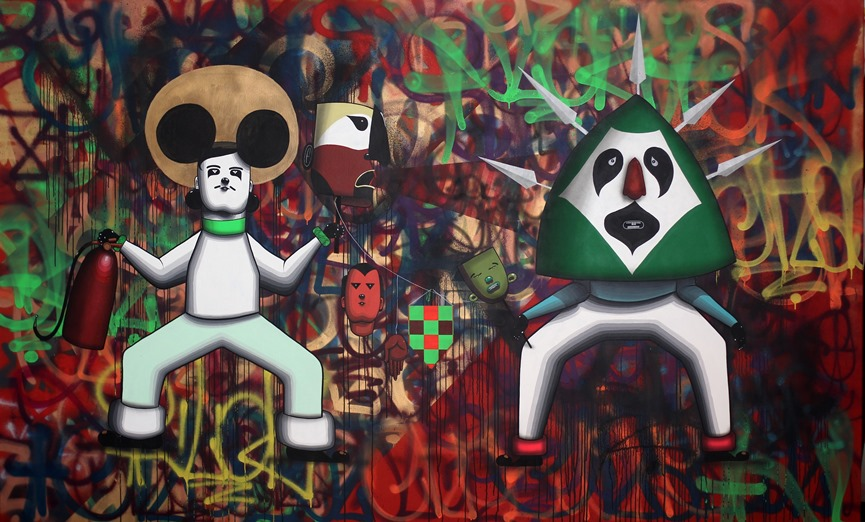 Finok, Os Aborigenes, Acrylic and spray paint on canvas, 190 x 310 cm, 2012
