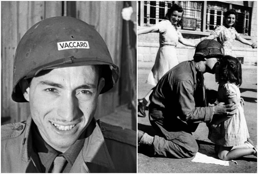 Tony Vaccaro during World War II / Left: Tony Vaccaro – The Kiss of Liberation Saint-Briac-sur-Mer Brittany 15 August 1944