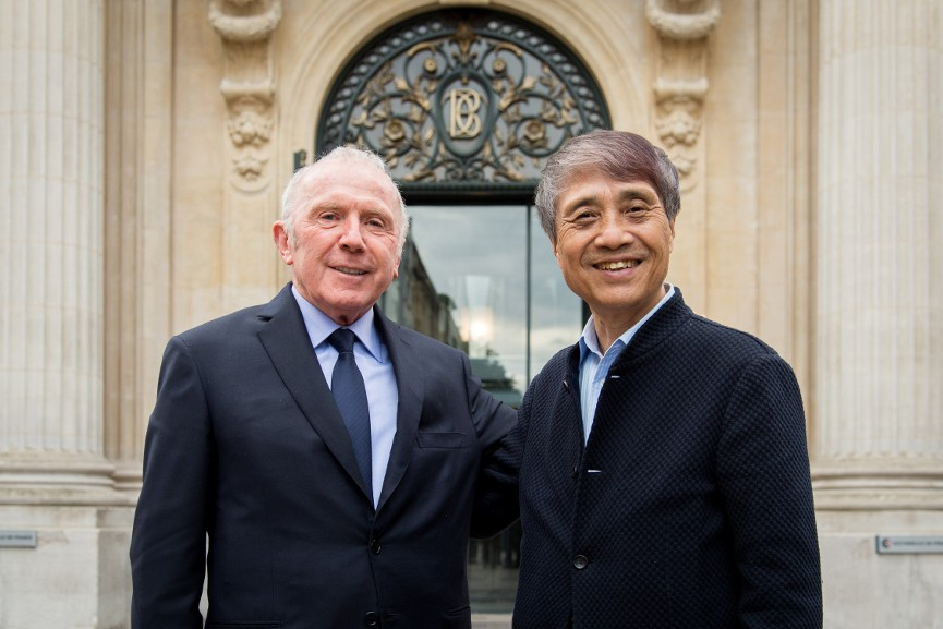 François Pinault and Tadao Ando, 2016, © Fred Marigaux