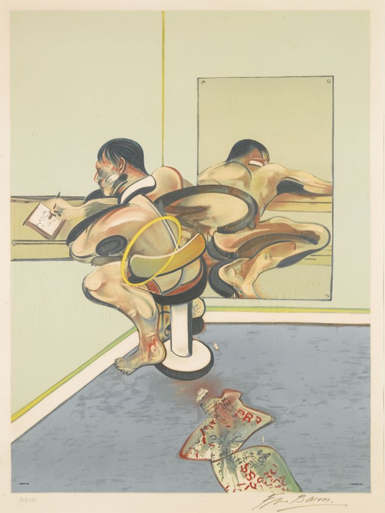 Francis Bacon-Figure Writing Reflected in a Mirror-1977