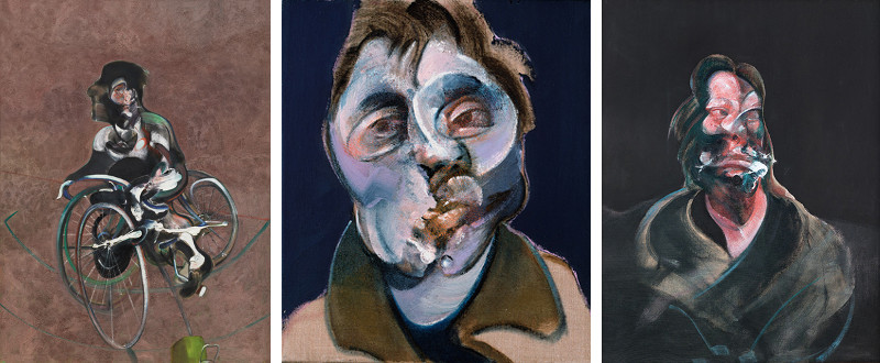 Francis Bacon - Portrait of George Dyer Riding a Bicycle, 1966 - Self-Portrait, 1969 - Portrait of Isabel Rawsthorne, 1966, work done at home was inspired by modern figure
