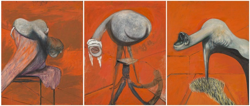 Francis Bacon, Three Studies for Figures at the Base of a Crucifixion c.1944 - Copyright the Tate Gallery
