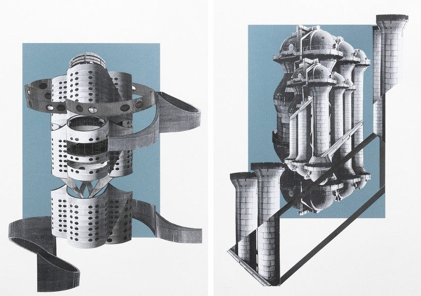 Frauke Dannert - Ribbon - Silo II, paper collage in kunstpalast and galerie pfab rupert in 2011 and 2014
