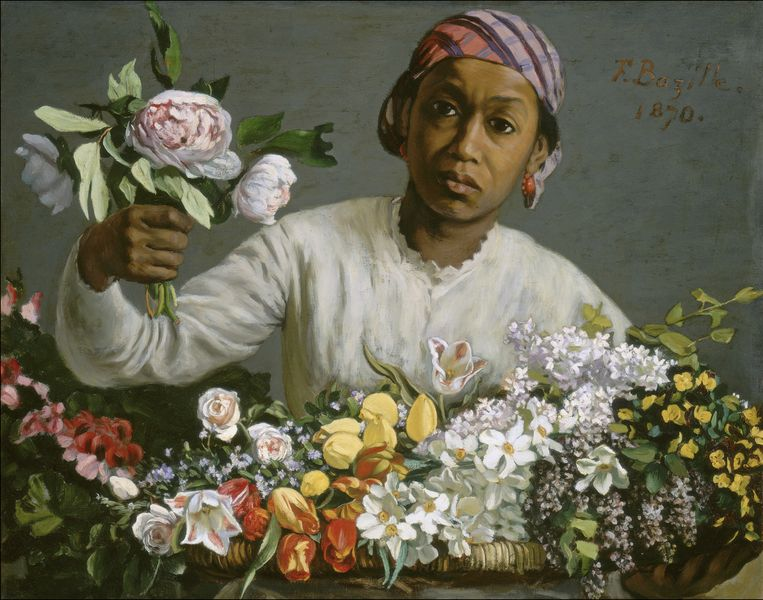 Frédéric Bazille - Young Woman with Peonies, 1870