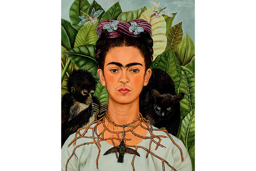 Self-Portrait, 1940; in this painting dedicated to rivera , kahlo wears a necklace of branches that is a symbol of death