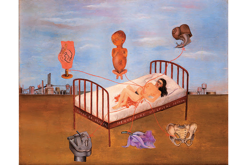 Henry Ford Hospital, 1932; kahlo self portrait in the hospital