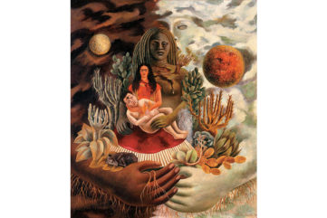 The Love Embrace of the Universe, the Earth (Mexico), Myself, Diego, and Señor Xolotl, 1949; kahlo referrs to the mexican heritage and a variety of folk tales from mexico