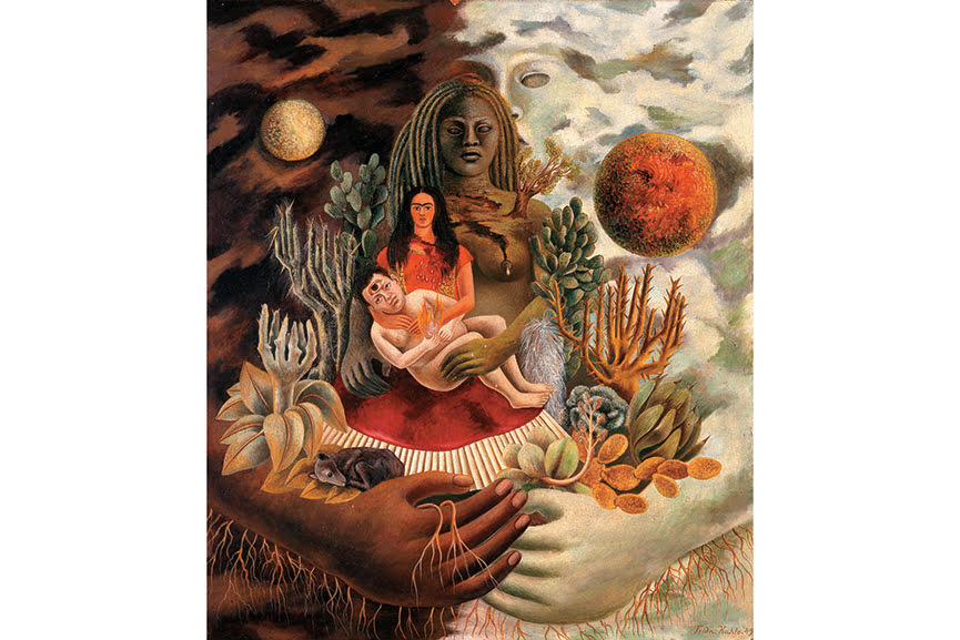 The Love Embrace of the Universe, the Earth (Mexico), Myself, Diego, and Señor Xolotl, 1949; kahlo referrs to the mexican heritage and a variety of folk mexican tales