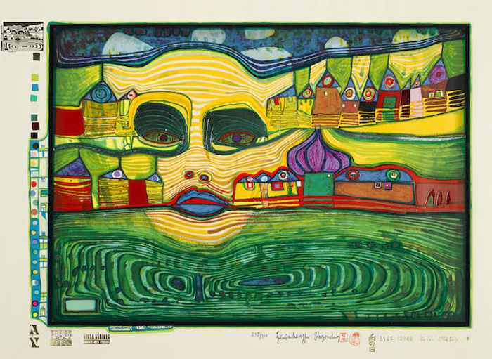 Friedensreich Hundertwasser-Irinalandover the Balkans pl. 7 from Look at it on a Rainy day-1972