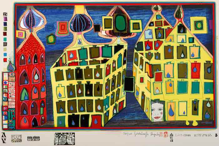 Friedensreich Hundertwasser-It hurts to wait with love if love is somewhere else pl. 3 from Look at it on a Rainy day-1972
