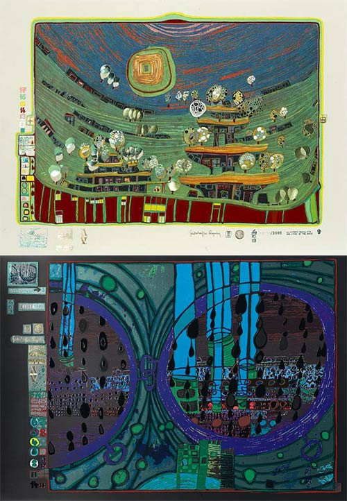 Friedensreich Hundertwasser-Look at it on a Rainy day portfolio-1972