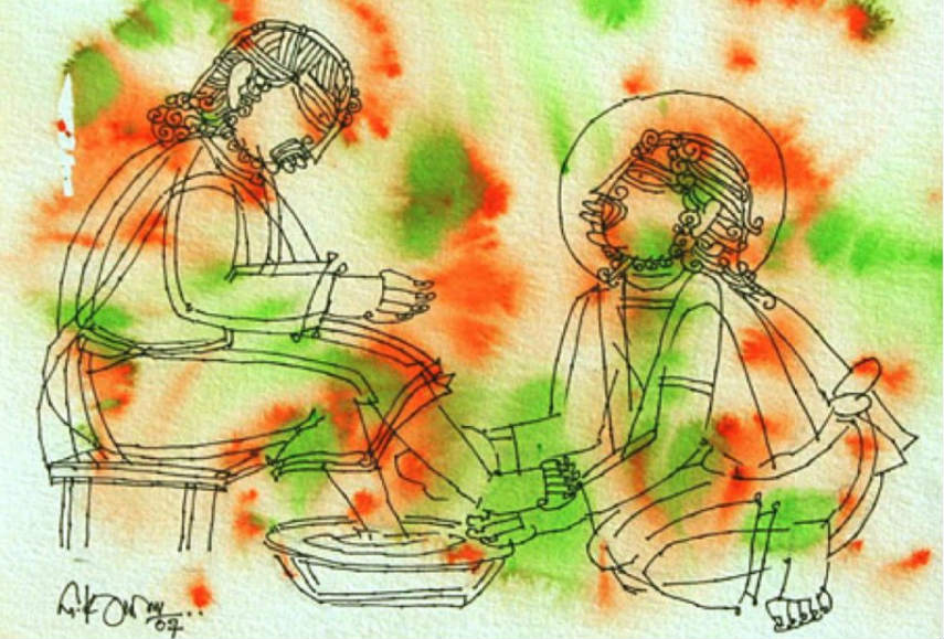 G Raman - Christ Washing Feet, 2007, Image via thenoblesagecom artist home search international privacy poilicy terms child logo contact