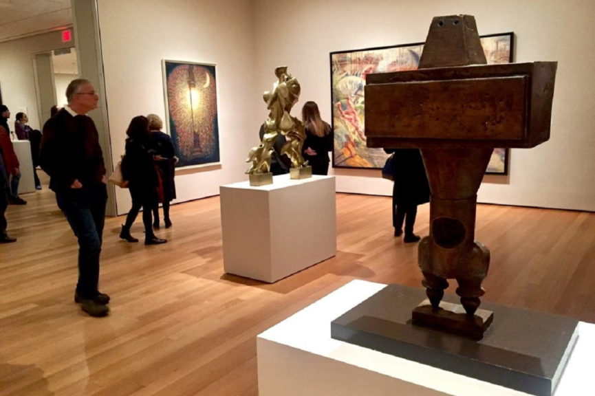 Gallery at MoMa showing Parviz Tanavoli sculpture The Prophet, 1964. Image via tavosonline.com