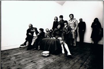 Gallery visitors watching Gilbert and George performing Underneath the Arches, 'A Singing Sculpture'. 60 Glebe Place, 1970