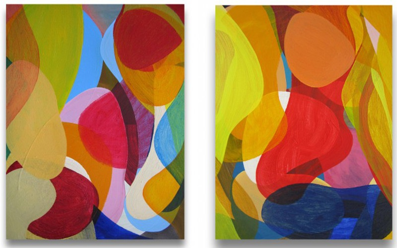 Gary Paller - #27, 2014 (Left) / #30, 2014 (Right) - paintings