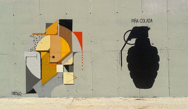 Gaucholadri - Piña Colada, along with Spogo's work in Badalona, Spain, 2015