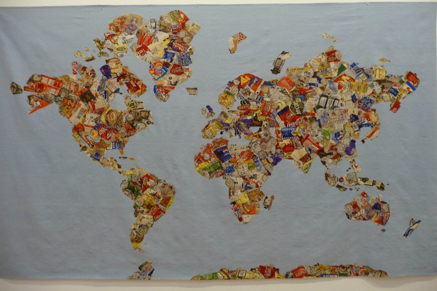 Gavin Turk - Mappa Del Mundo, tapestry on a wall - Hanging black tapestry cart is one of the better wall tapestries to order for your home