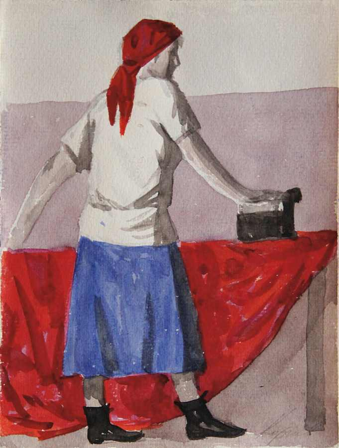 Geli Korzhev-Irons Red Fabric, Study for New Slogan-1994