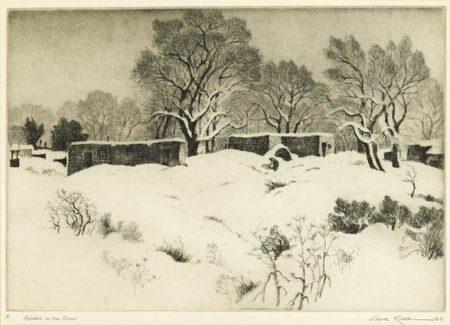 Gene Kloss-Adobes in the Snow-1944