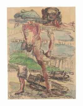 Georg Baselitz-Ohne Titel (Heimweg II) (Untitled (Way Home II))-1967