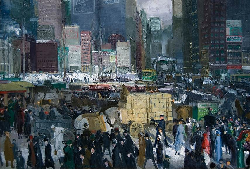 Joan Sloan - The City from Greenwich Village, work related to american realism