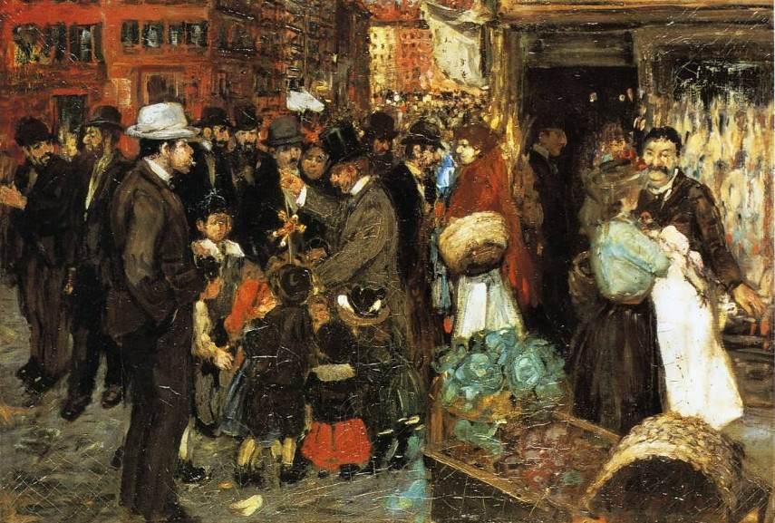 George Benjamin Luks - Hester Street, 1905 - Image via ephermeralnewyorkcom
