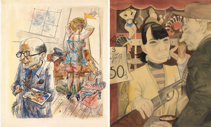 George Grosz - Self-Portrait with Model in the Studio 1930-7 - Jeanne Mammen - At the Shooting Gallery 1929