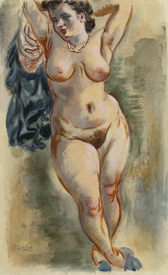 George Grosz-Standing Female Nude-1940