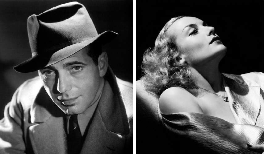 George Hurrell - Humphrey Bogart (Left) - Carole Lombard 1934-36 (Right) Hollywood photography portraits photos 2016 images search world years collection