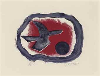 Georges Braque-Oiseau sur fond carmin (Oiseau XIV)-1958