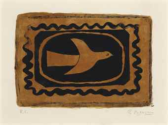 Georges Braque-Oiseau verni (Oiseau VII)-1954