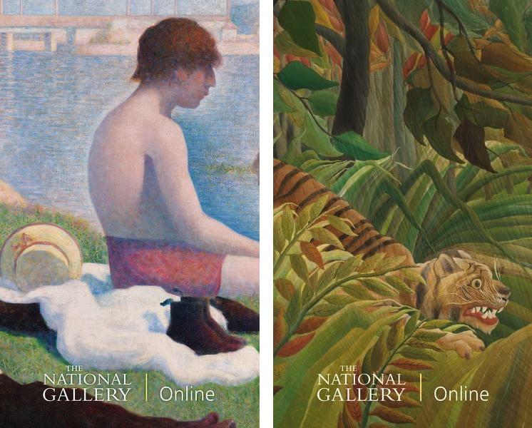 Georges Seurat, Bathers at Asnières (detail), 1884, Henri Rousseau, Surprised! (detail), 1891