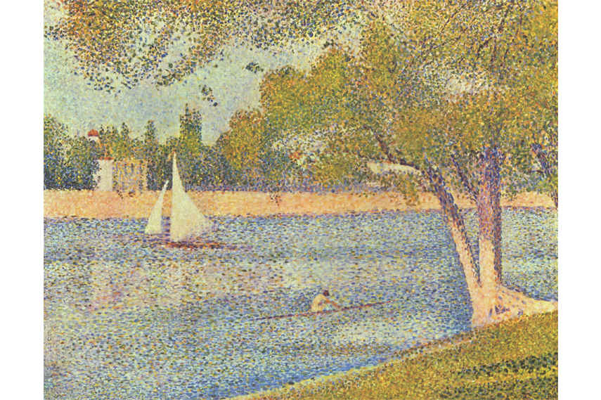 Pointillist artist Georges Seurat and his painting The Seine and la Grande Jatte - Springtime