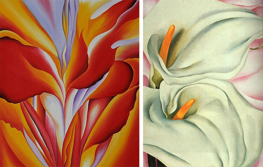 o'keeffe museum santa Georgia Keeffe - Red Canna, 1924 (Left) / Two Calla Lilly On Pink, 1928 (Right)
