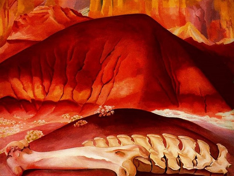 Georgia Keeffe  o'keeffe museum  - Red Hills and Bones, 1941
