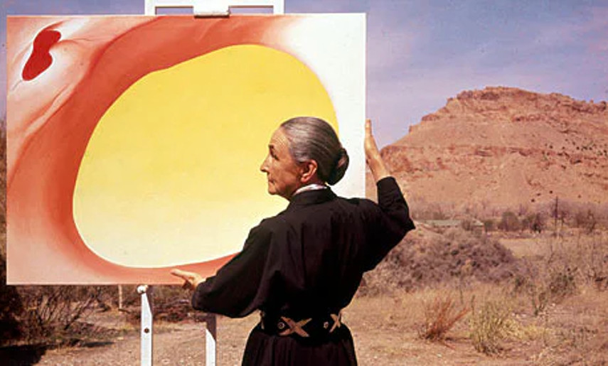 Tony Vaccaro - Georgia O'Keeffe with her painting Pelvis Series Red with Yellow and the Desert 1960