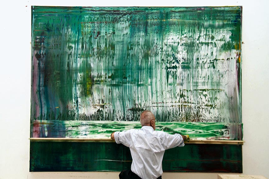 Gerhard Richter uses unusual painting techniques such as pulling and scrapping