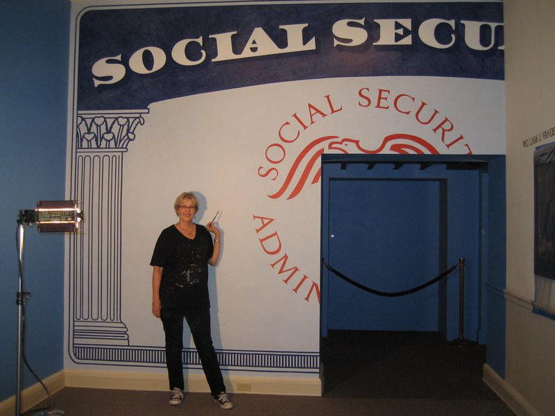 Giant Social Security card hand painted for FDR Museum and Library by Louise Hunnicutt